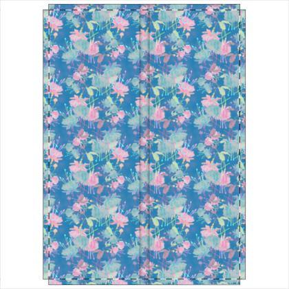 Folding Screen Blue [2 panels shown], Floral  Fuchsias  Airforce