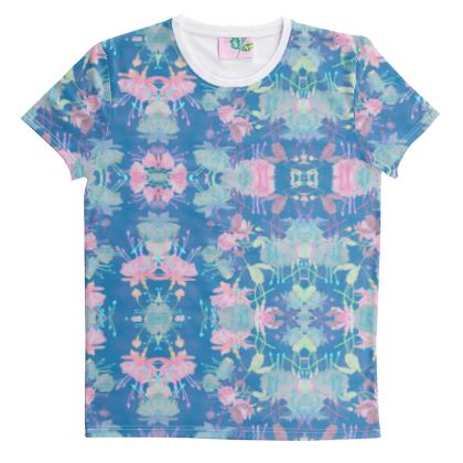Cut And Sew All Over Print T Shirt Blue, Pink Floral  Fuchsias  Airforce