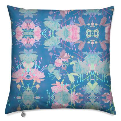 Cushions Blue [40 cm square shown], Floral  Fuchsias  Airforce