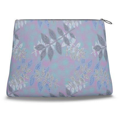 Clutch Bag Blue, Lilac Floral  Etched Leaves  Blue Glade