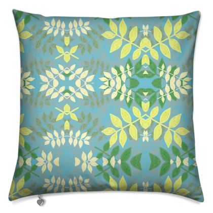 Cushions [50 cm square, feather filled shown] Blue, Yellow Floral  Etched Leaves   Green Glade