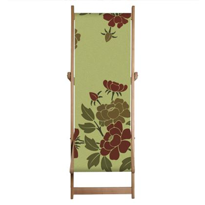 Deckchair - Japanese flowers and leaves pattern Remaster