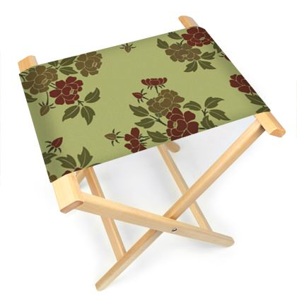 Folding Stool Chair - Japanese flowers and leaves pattern Remaster