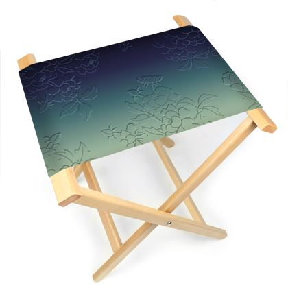 Folding Stool Chair - Japanese flowers and leaves pattern Engraved Remix