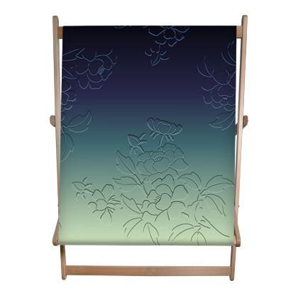 Double Deckchair - Japanese flowers and leaves pattern Engraved Remix