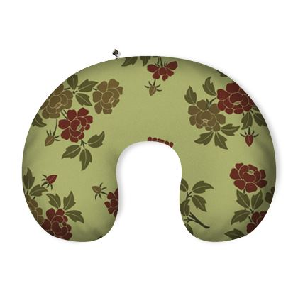 Neck Pillow - Japanese flowers and leaves pattern Remaster