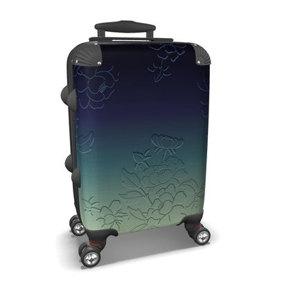 Suitcase - Japanese flowers and leaves pattern Engraved Remix