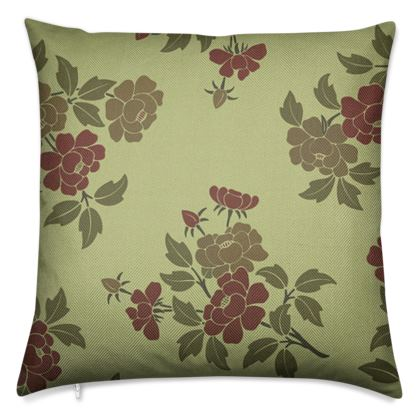 Luxury Cushions - Japanese flowers and leaves pattern Remaster