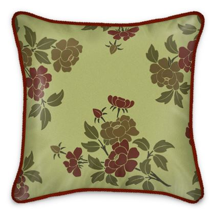 Silk Cushions - Japanese flowers and leaves pattern Remaster