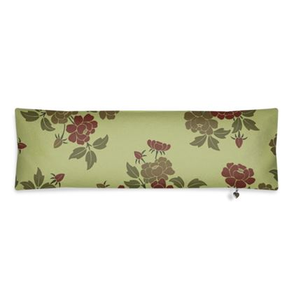 Bolster Cushion - Japanese flowers and leaves pattern Remaster