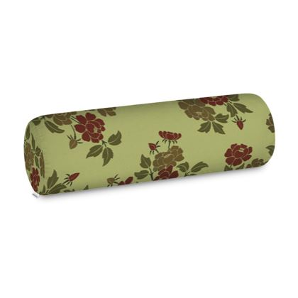 Big Bolster Cushion - Japanese flowers and leaves pattern Remaster