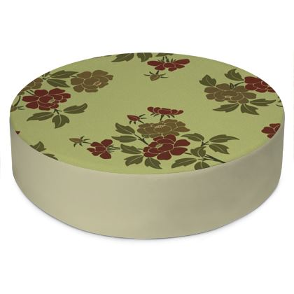 Round Floor Cushions - Japanese flowers and leaves pattern Remaster