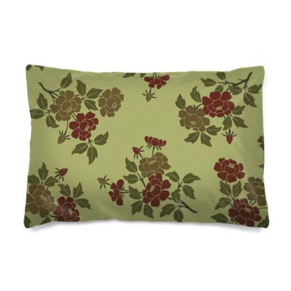 Pillow Case - Japanese flowers and leaves pattern Remaster