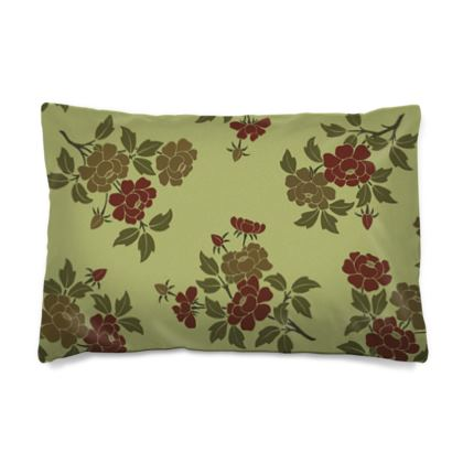 Pillow Case JAPAN - Japanese flowers and leaves pattern Remaster