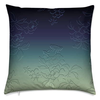 Cushions - Japanese flowers and leaves pattern Engraved Remix