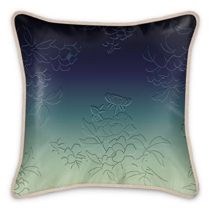 Silk Cushions - Japanese flowers and leaves pattern Engraved Remix