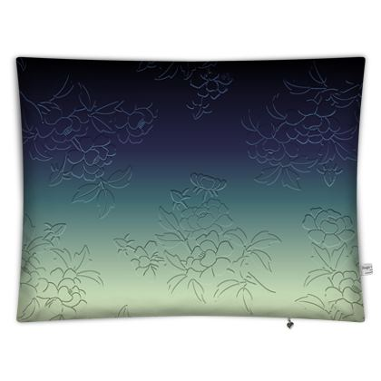 Floor Cushion Covers - Japanese flowers and leaves pattern Engraved Remix