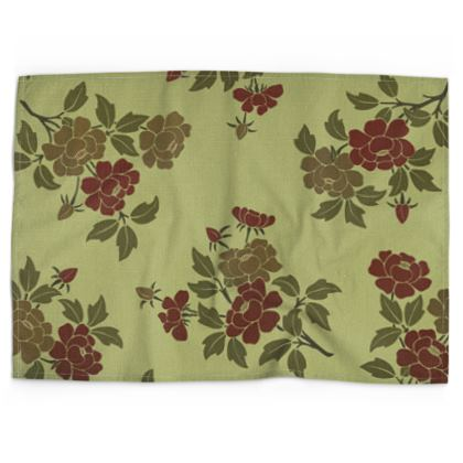 Tea Towels - Japanese flowers and leaves pattern Remaster