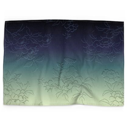 Tea Towels - Japanese flowers and leaves pattern Engraved Remix