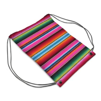 "Drawstring ""Backpack"" Bag – Serape-Print #4 Hot Pink"