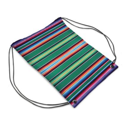 "Drawstring ""Backpack"" Bag – Serape-Print #3 Green"