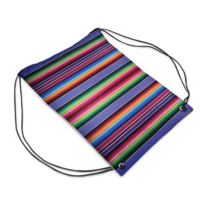 "Drawstring ""Backpack"" Bag – Serape-Print #8 Lavender"
