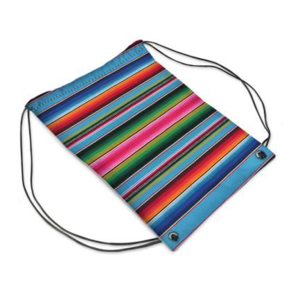 "Drawstring ""Backpack"" Bag – Serape-Print #5 Baby Blue"