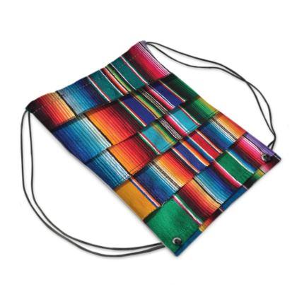 """Drawstring """"Backpack"""" Bag – Serape-Print #9 Multi"""