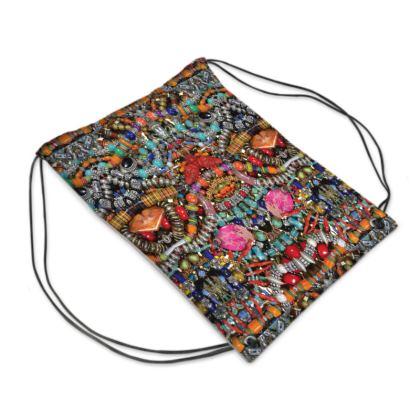 "Drawstring ""Backpack"" Bag – Bead-Bomb #4"