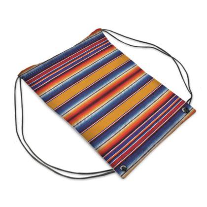 "Drawstring ""Backpack"" Bag – Serape-Print #2 Saffron"