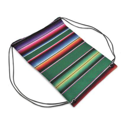 "Drawstring ""Backpack"" Bag – Serape-Print #10 Green"