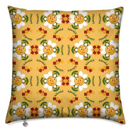 Pixel Flower Pattern Cushions