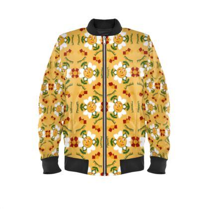 Pixel Flower Pattern Mens Bomber Jacket
