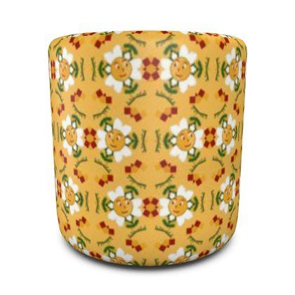 Pixel Flower Pattern Round Pouffe