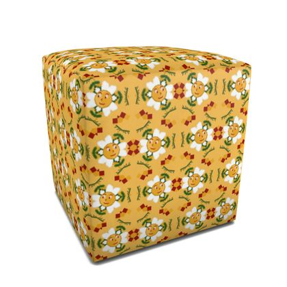 Pixel Flower Pattern Square Pouffe