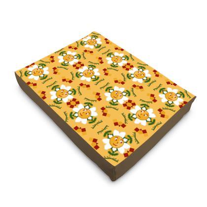 Pixel Flower Pattern Dog Pet Bed