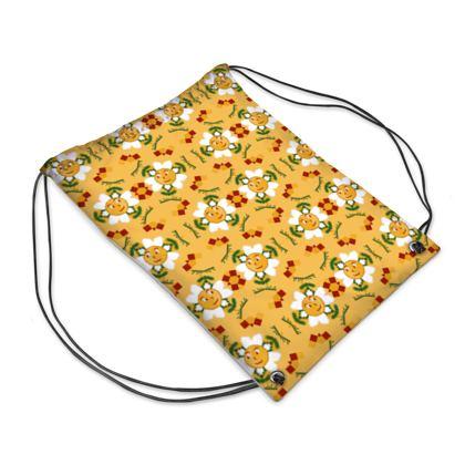 Pixel Flower Pattern Drawstring PE Bag