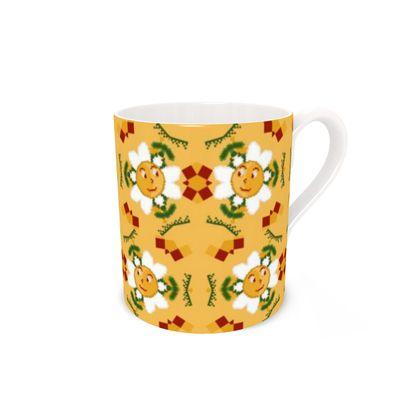 Pixel Flower Pattern Bone China Mug