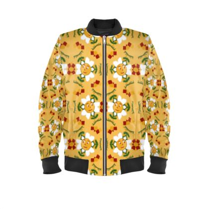 Pixel Flower Pattern Ladies Bomber Jacket