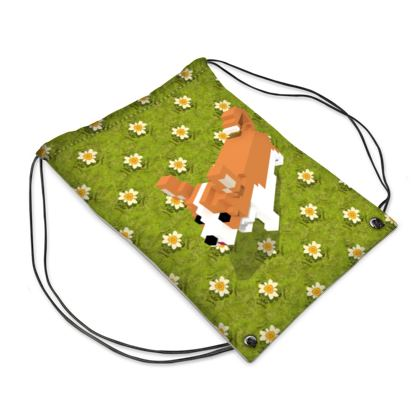 Voxel dog and the flowers Drawstring PE Bag