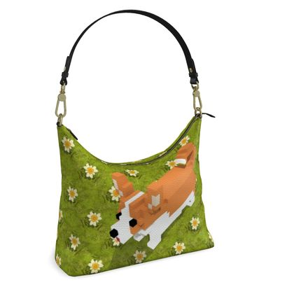 Voxel dog and the flowers Square Hobo Bag