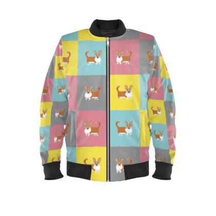 Cardigan Corgi Pattern Mens Bomber Jacket