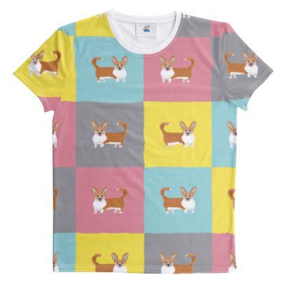 Cardigan Corgi Pattern Cut And Sew All Over Print T Shirt