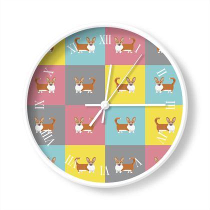 Cardigan Corgi Pattern Wall Clocks