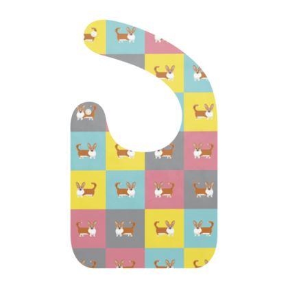 Cardigan Corgi Pattern Baby Bibs
