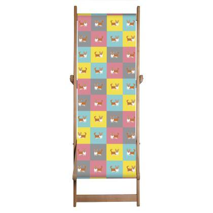 Cardigan Corgi Pattern Deckchair