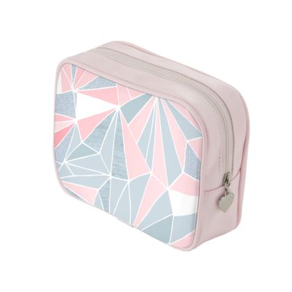 Pretty Pink and Grey Geometry - Make Up Bags