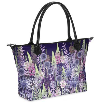 Midnight Flower Dance Zip Top Handbag