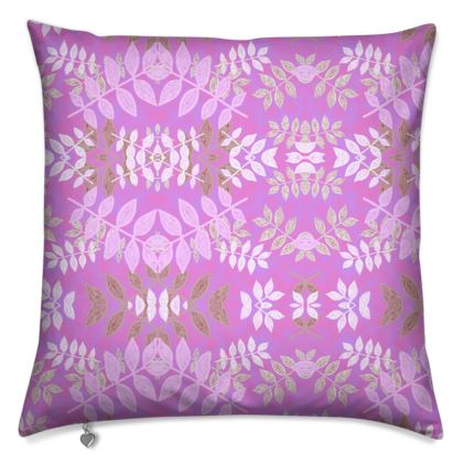 Cushions Mauve, Floral  Etched Leaves  Leaves in Mauve