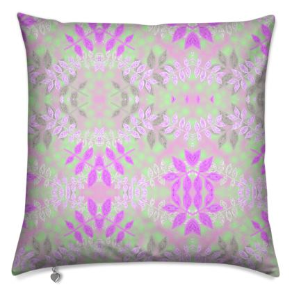 Cushions Lilac, Green Floral  Etched Leaves  Currant